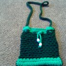 Crochet small Dark & light Green With white Beads handbag