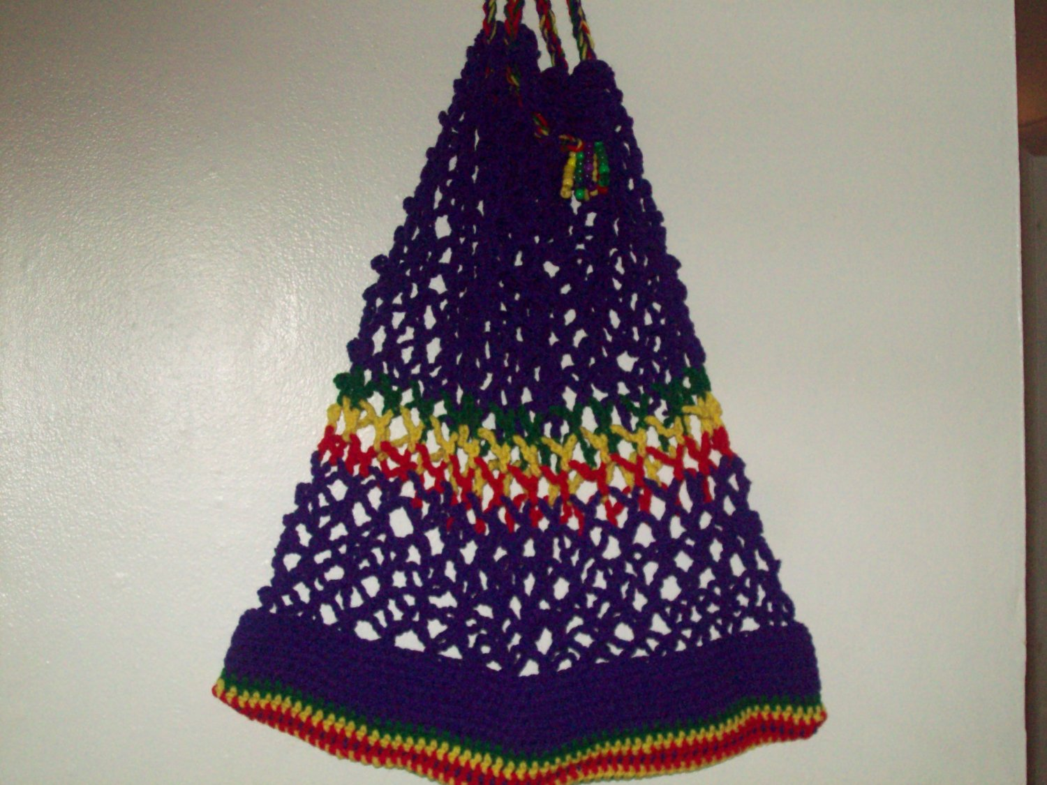purple red, yellow & Green tote bag