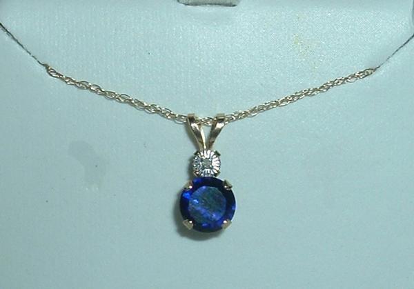 Solid 10k Sapphire & Genuine Diamond Necklace