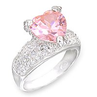 Pink Rose CZ Heart Ring Size 6