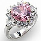 Rosette Pink Heart CZ Ring Size 8