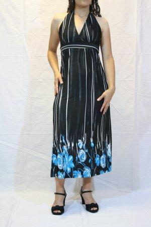 Sleeveless Stud & Floral Blue Print Dress