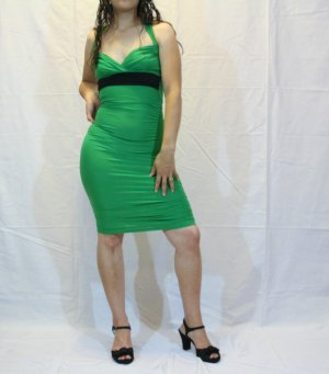 Trendy Fitted Solid Green Dress
