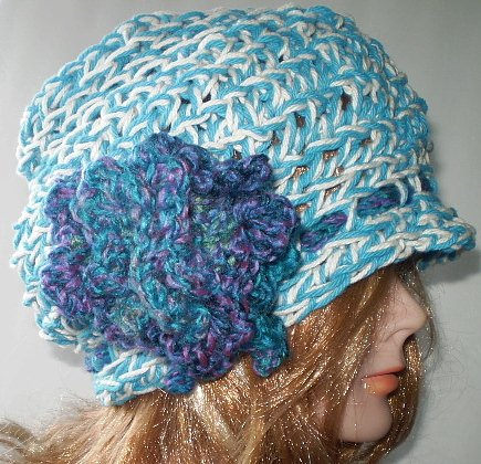 Crocheted Faux Straw Hat with ribbon Women MediumHat