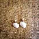 White seashell earring with faux pearl And Chrystal bead