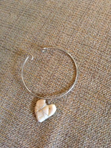 Real heart seashell bangle bracelet