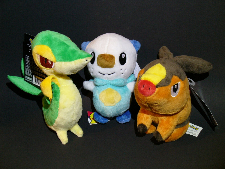 Pokemon Jakks Plush Black and White Series NWT - BW Starters Snivy Tepig Oshawott