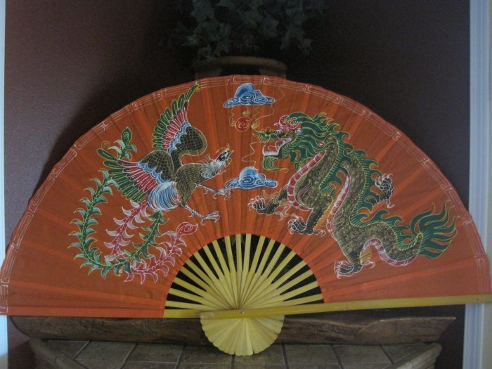 Asian wall art silk with bamboo hand painted.(b1)