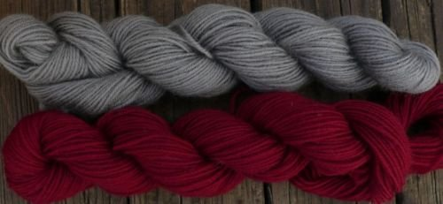 Wool sock yarn sport weight, gray and red