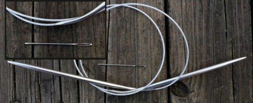 "stainless steel knitting needle circular US size 8, 31"""