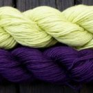 Wool sock yarn sport weight, lime & violet