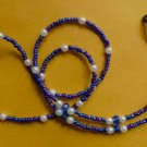"Sunglasses & eyeglass holder , glass beads, 28"" blue"