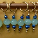 Stitch marker, knitting 6+1  glass & pearl, green blue