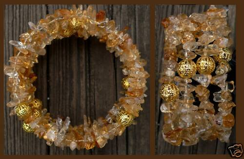 Memory wire Bracelet, topaz and gold filled beads