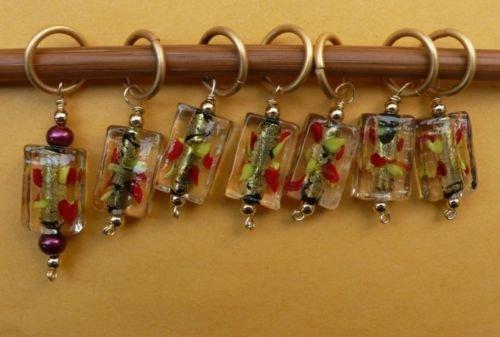 Stitch marker, knitting 6+1  lamp work glass, rectangle