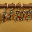 Stitch marker, knitting 6+1  lamp work glass, rectangle
