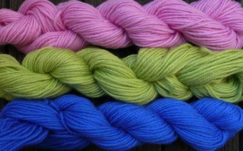 Pure wool yarn worsted wt , pink honeydew & royal blue