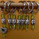 Stitch marker, knitting 6+1  , pewter and crystal