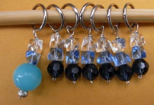 Stitch marker, knitting 6+1  , glass & crystal, 4 color