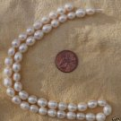 "Fresh water pearl, white, 7 x 8mm,  15 "" string"