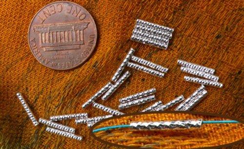 24 sterling silver fancy tube beads, 10x1.5mm, twist