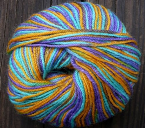 Pure wool yarn Fingering wt iris aqua orange lime 1.7oz