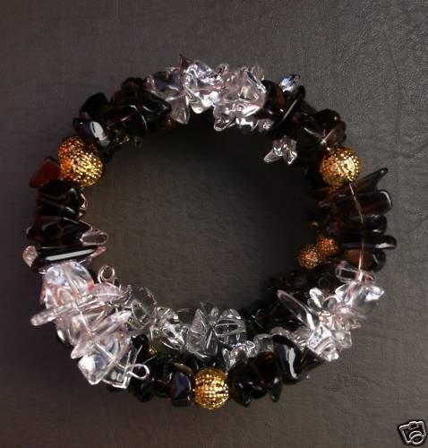 Memory wire Bracelet, smoke quartz & rock crystal beads