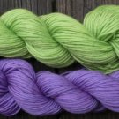 Wool sock yarn sport weight, apple green & iris