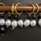 Large stitch marker, knitting, 6 + 1,  pearl & onyx