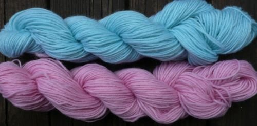 Wool sock yarn sport weight, baby blue & soft pink