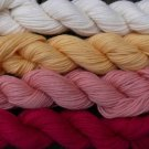 Pure wool yarn worsted wt, ivory yellow peach & rose