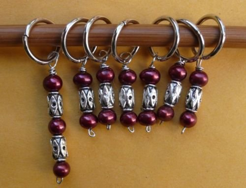 Stitch marker, knitting 6+1  , pearl and pewter