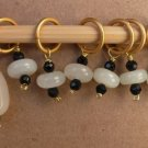 Stitch marker, knitting 6+1 ,  stone & onyx, black