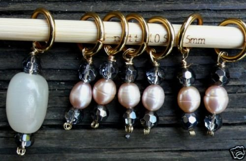 Stitch marker for knitting , 6+1 pcs #11pearl + crystal
