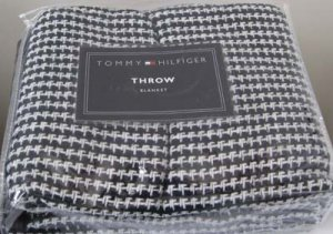 Tommy Hilfiger Holly Black and White Cotton Throw Blanket New