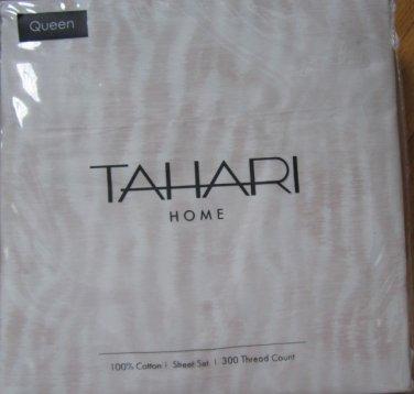 TAHARI Whtie Muted Pale Pink QUEEN SHEET SET 300 TC NIP