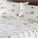 Home Classics Elephants Full Heavyweight Flannel Sheet Set White 4pc NIP