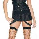 0811L-8107  2 pc Strappy Suspender Pinstripe Gangster Girl Costume