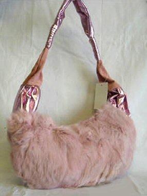 0615HB-RF9304  Genuine Rabbit Fur Handbag with Metallic Gloss Strap