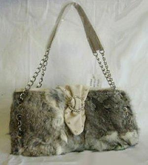 0618HB-RF8167  Genuine Rabbit Fur Handbag with Chain Strap & Rhinestone Front Accent