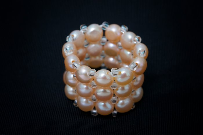 AAA apricot freshwater cultured pearl triple strand/band ring fits any size