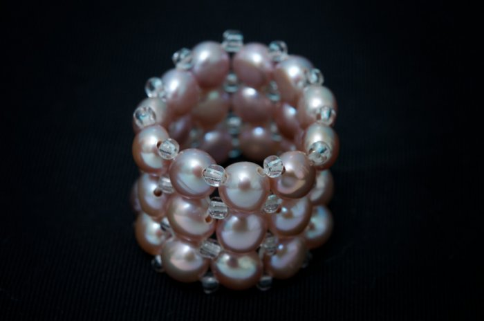 AAA smokey color freshwater cultured pearl triple strand/band ring fits any size