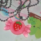 kawaii cabochon handmade necklace with free mini memos strawberry candy bow # B3