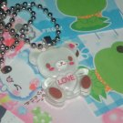 Kawaii Cabochon handmade necklace white love teddy bear with free mini memos # B6