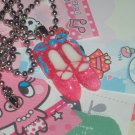 Kawaii Cabochon handmade necklace pink ballerina slippers plus free memos # B12