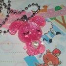 Kawaii cabochon handmade necklace dark pink glittery bunny with free memos # B15