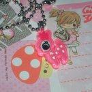Kawaii cabochon handmade necklace pink deer with free memos #B17