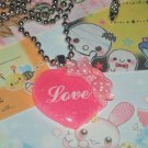 Kawaii cabochon handmade necklace pink love heart with bow plus free memos #B18