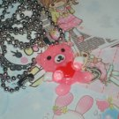 Kawaii cabochon handmade necklace pink glitter bunny with wings and heart plus free memos #B22