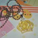 Kawaii cabochon handmade necklace yellow crown plus free mems #B27